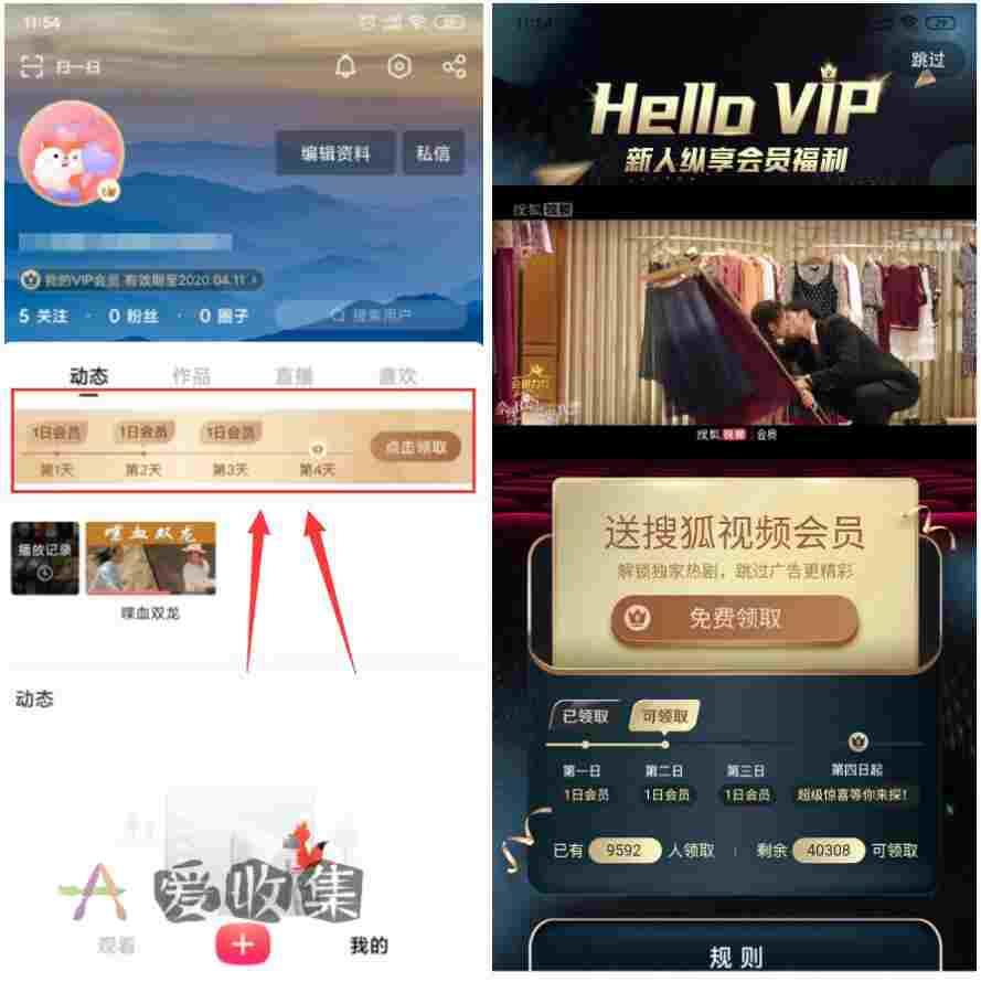搜狐视频领3天视频会员,临时追剧上-爱收集-羊毛线报网