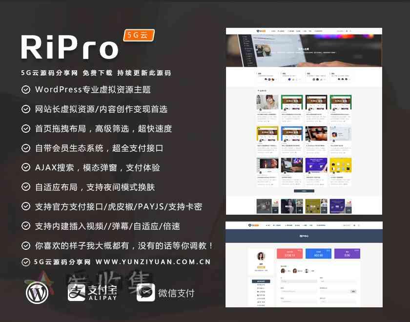 最新Ripro7.1主题开心解密版 -wordpress主题无限制版去授权-爱收集-羊毛线报网